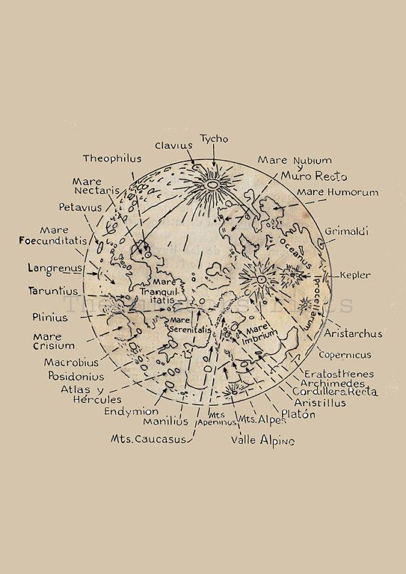 Map of the Moon  Lunar Surface Astronomy Print  Recovered Vintage Image to Frame