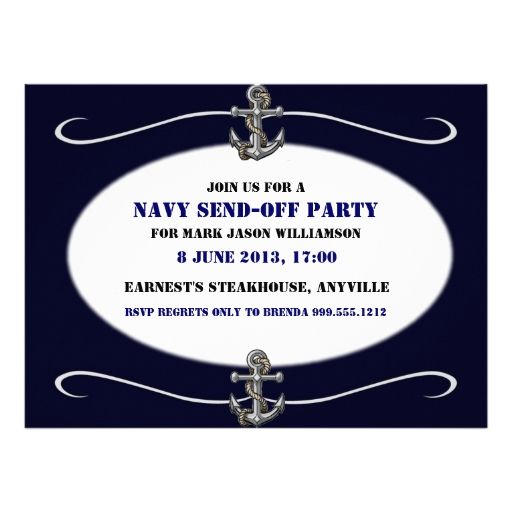 Custom US Navy Send-Off Party Invitations