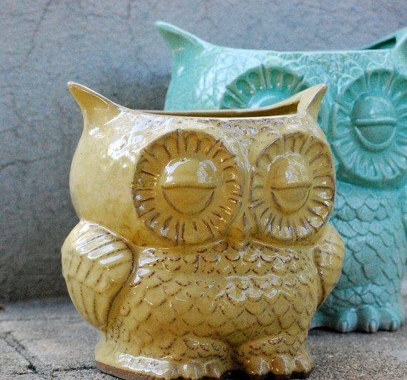 extra large ceramic planter owl kitchen utensil by claylicious