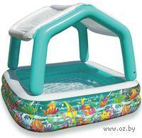 Бассейн надувной детский `Домик с навесом` (157х157х122 см)