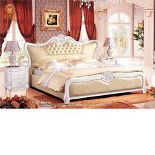 Talla de madera maciza de lujo classic cama de cuero