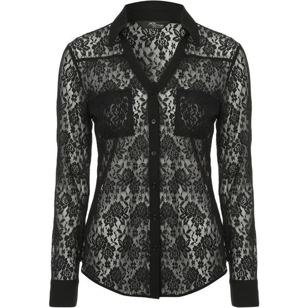 Jane Norman All over lace blouse ($30) ❤ liked on Polyvore featuring tops, blouses, black, black floral blouse, lace shirt, slim fit shirts, black blouse and floral print shirt