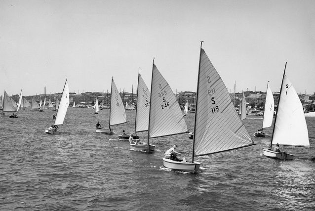 """Newport Harbor's annual """"Flight of the Snowbirds"""" sailboat race began in the 1930s. It continues today as """"flight of the lasers.""""   Thank you Vintage Orange County CA Archives for the fantastic photo!"""