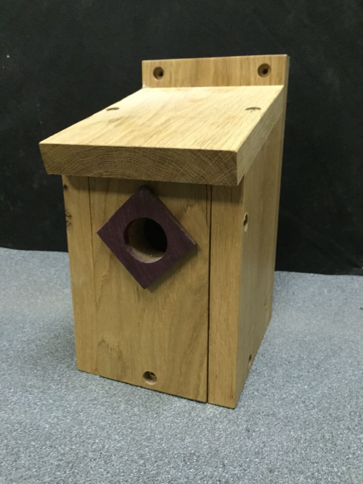 Nesting box made from oak with Purple Heart entrance hole.