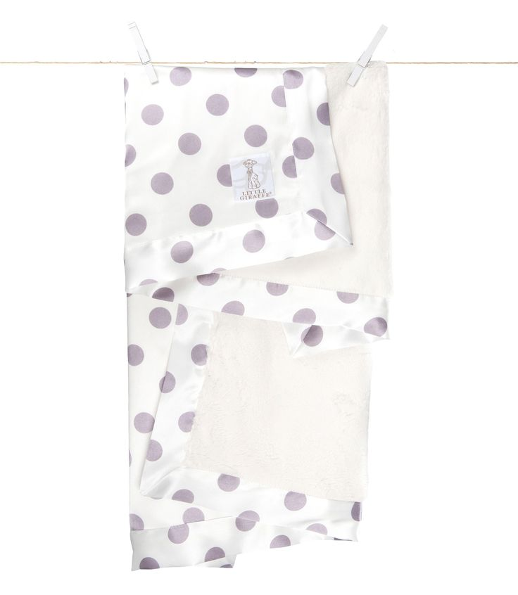 Little Giraffe - Luxe Cream Dot Baby Blanket - Lavender CANADA Free Shipping at RockprettyBaby.ca