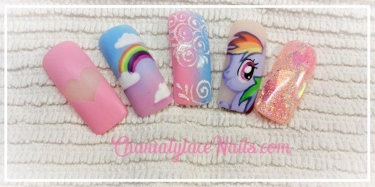 my little pony nail art, rainbow dash