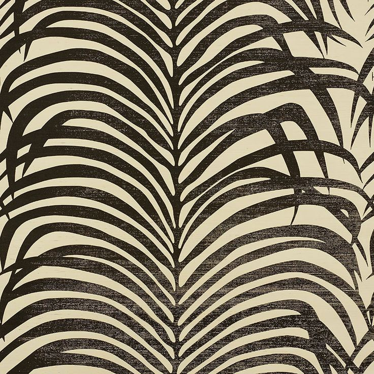 5008222 Zebra Palm Sisal Black On Ivory By Schumacher Black