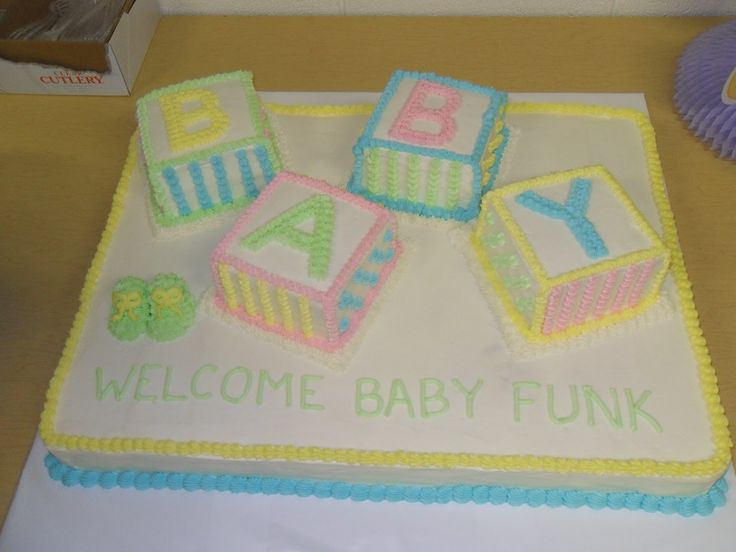This is the baby shower I made for my sister (her last name is Funk and the gender is unknown). I had to make a cake large enough to feed ...