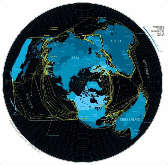 これが本当のインターネット、世界中に張り巡らされた海底ケーブルを地図上に表すとこうなる - GIGAZINE