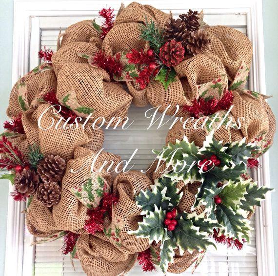 Burlap mesh christmas wreath  on Etsy, $85.00