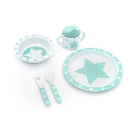 Pimpalou Melamin Kindergeschirr-Set Sterne mint/weiß 5-teilig