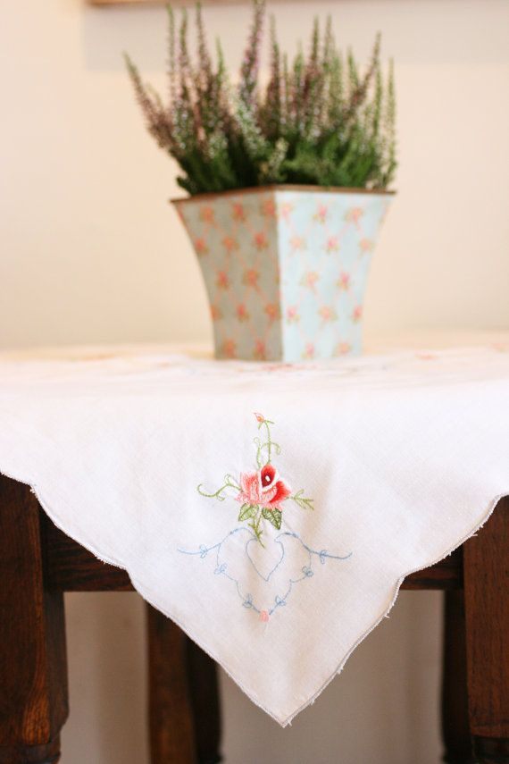 French Vintage Rose Embroidered Tablecloth by Chezpetitpica, €15.00