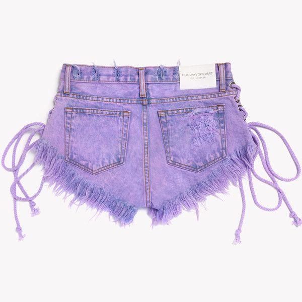 Lace Up Wildest Venus Babe Shorts - Runwaydreamz Denim - Hand Made - Designer Jeans - One of a Kind