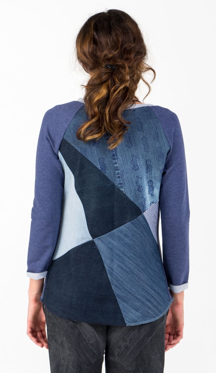 Upcycled casual top for autum. Denim fun. Sharolta -  ethical fashion made in Budapest www.sharolta.com