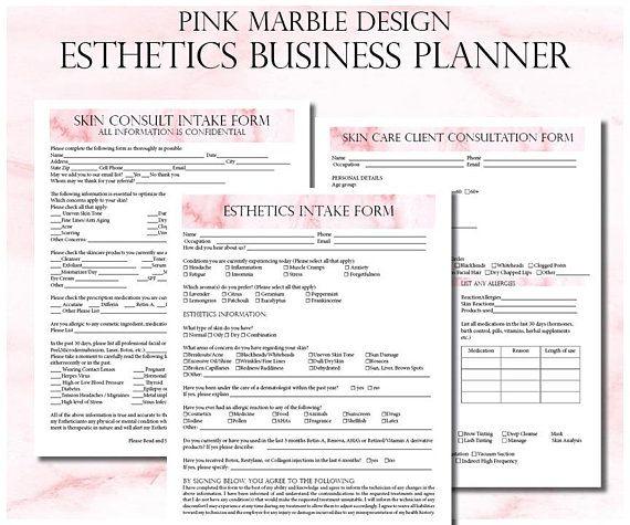Esthetician Business Planner Editable Skin Care Consultation Etsy In 2020 Business Planner Esthetician Facial Esthetician