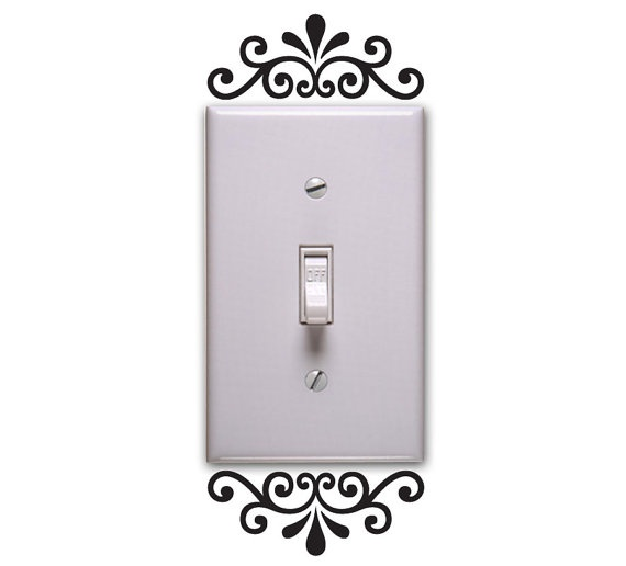 Floral light switch decal