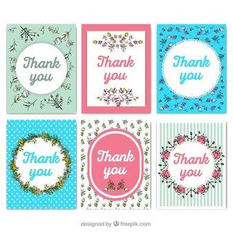 Coleção linda de cartões de agradecimento em estilo vintage