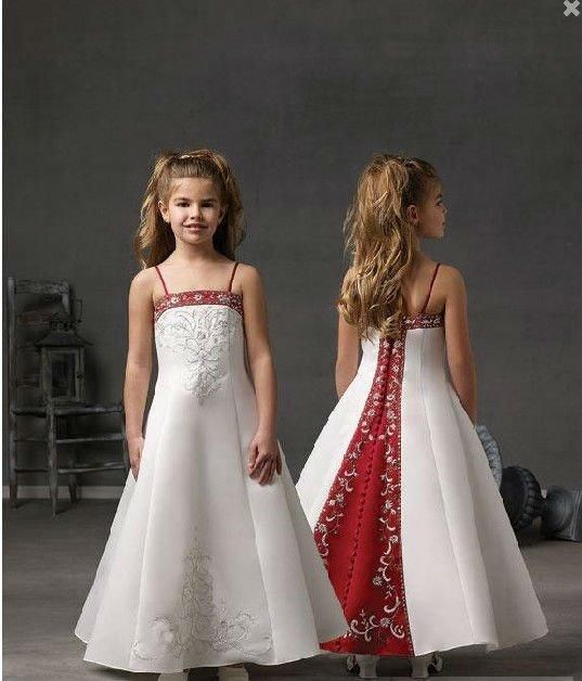 Spectacular Cute Little Girl Dresses For Wedding Spaghetti Strap Red And White Flower Girl Dresses With Embroidery