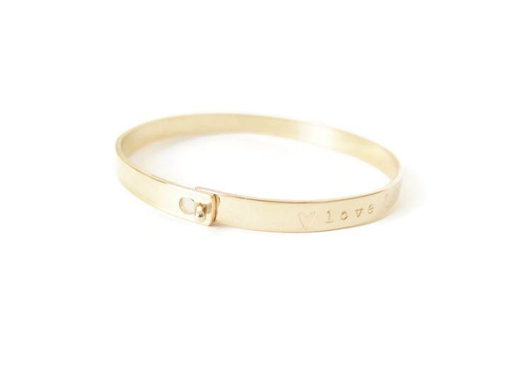 Love Latch Gold Bangle Bracelet, Personalized