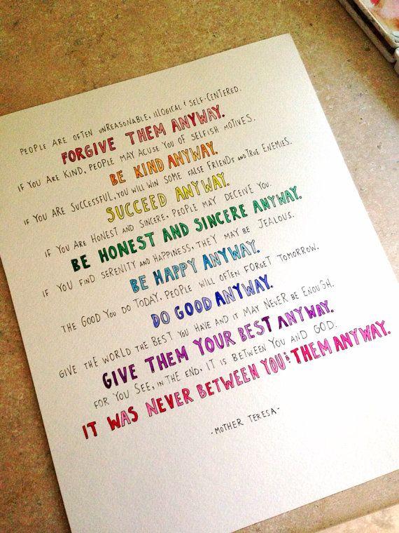 11x14 Print Of Original Mother Teresa Do It Anyway Poem