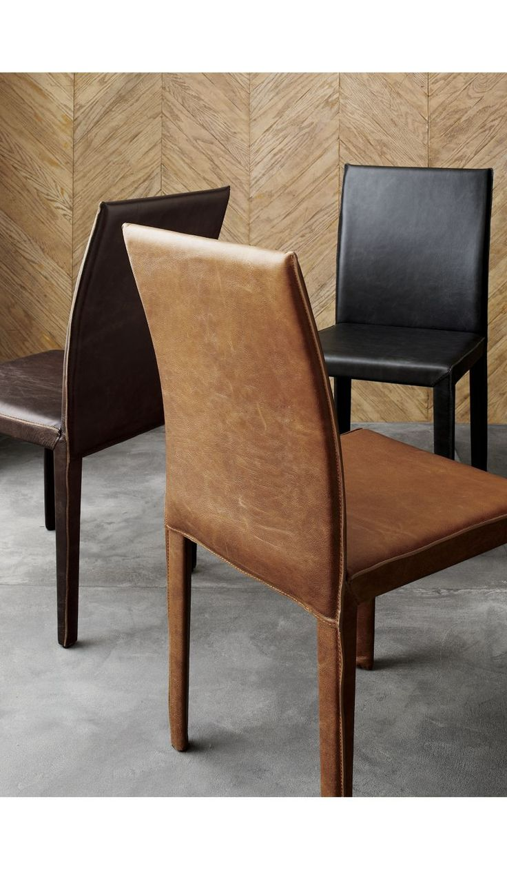leather dining chairs leather kitchen chairs Folio Sienna Top Grain Leather Dining Chair Crate and Barrel