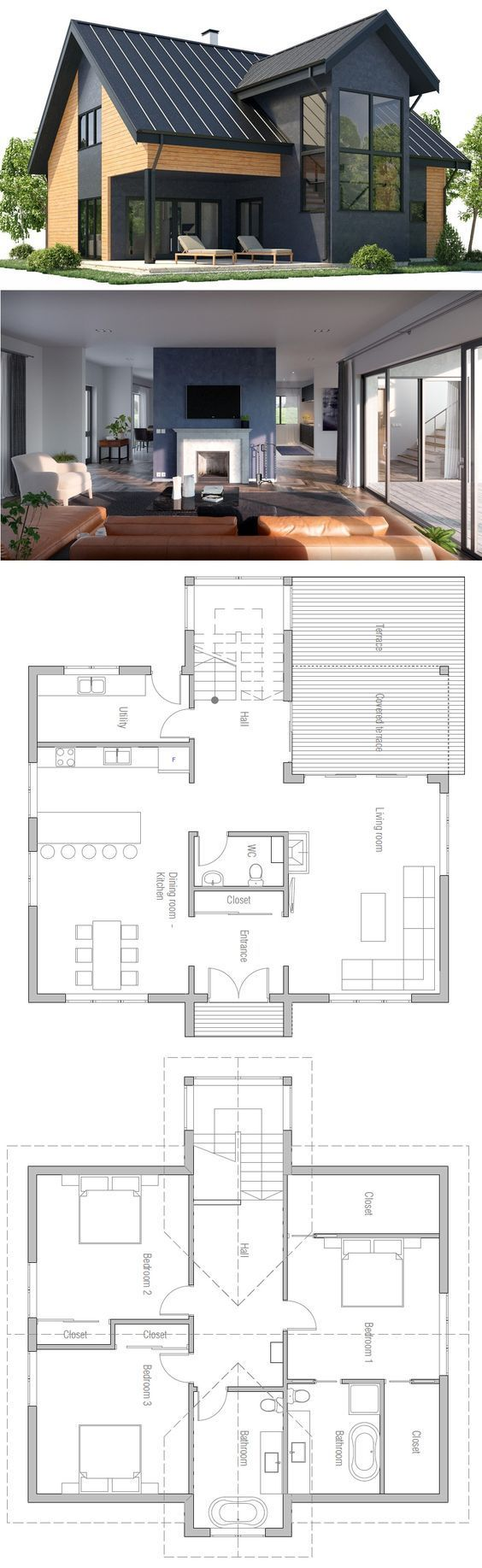 LOVE this plan except maybe just have two bedrooms on second level with their own baths, and add a third level with the same config. Also, basement rec room and storage would be nice.
