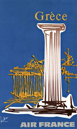 Vintage travel poster of Greece for Air France by Georges Mathieu, 1960's #kitsakis