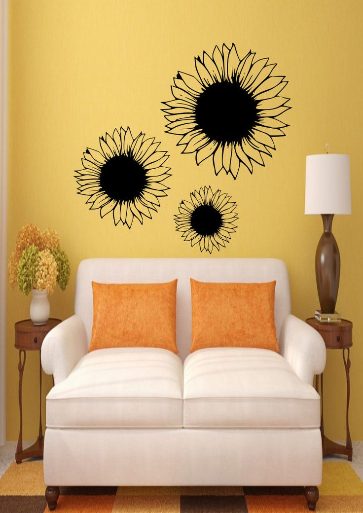 Sunflower - Three - Wall Vinyl - Gardening - Flowers - Nature - Home Decor - Gift Idea - Living Room-Bedroom-Dorm-High Quality Vinyl Graphic by EmmaEmbellishments on Etsy