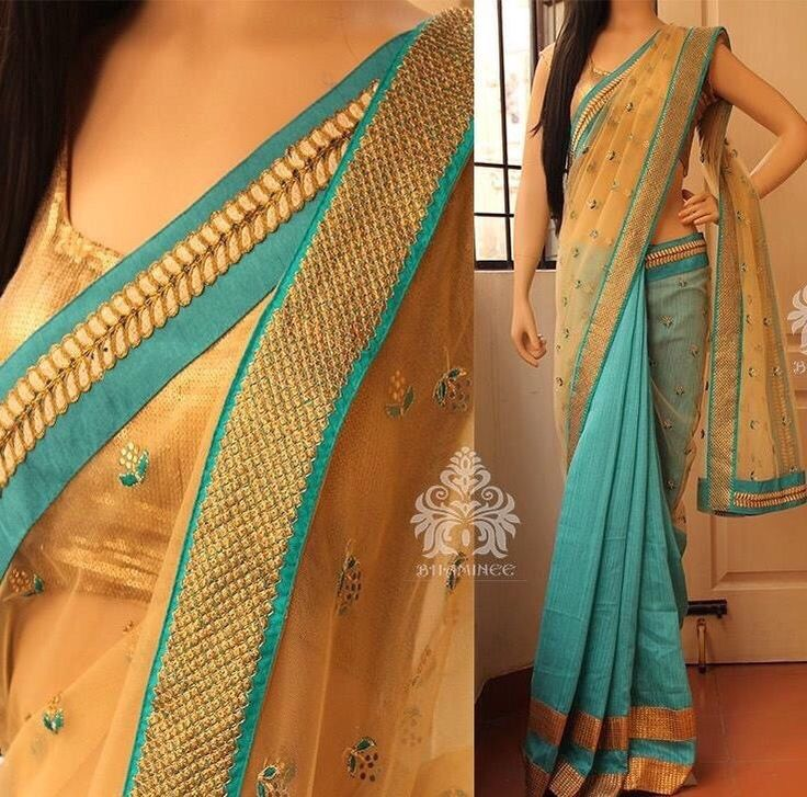 Beige and blue designer Georgette with zari border