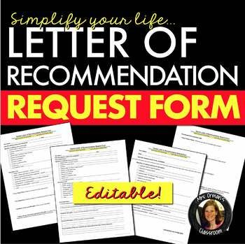 Reference Letter/Letter of Recommendation Request Form Editable - check request forms