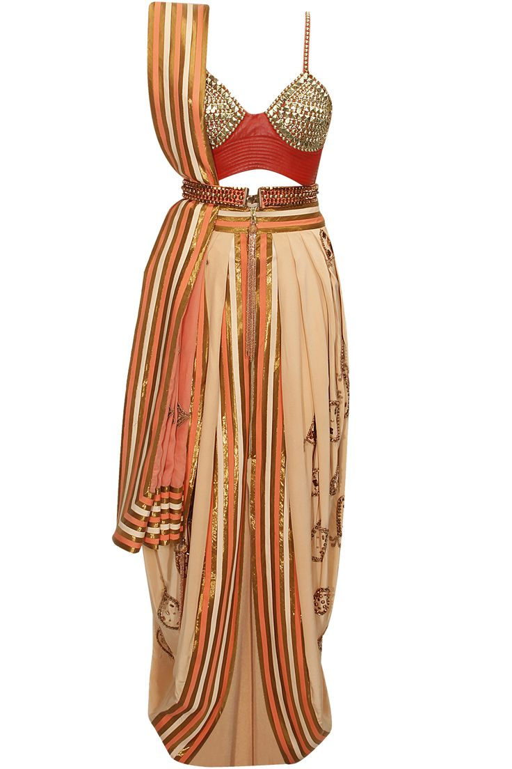 Salmon and orange embellished draped dhoti sari with red embroidered bustier available only at Pernia's Pop-Up Shop.