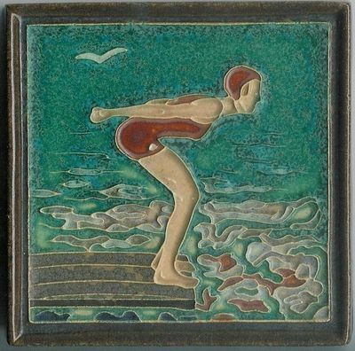 RARE Vintage Porceleyne Fles Delft Tile Female Swimmer Holland Tegel Zwemster   eBay