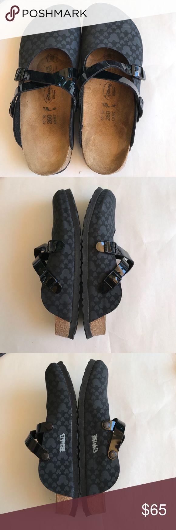 "Birkenstock ""Birki's"", Dorian style, Disney theme Birkenstock, ""Birki's"", Dorian style Clog, black Mickey Mouse Design. Ladies size 9, men's size 7. Birkenstock Shoes Mules & Clogs"