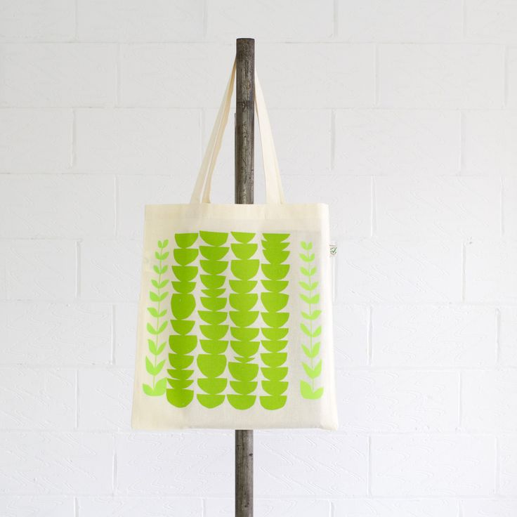 Frond Tote - hand printed with water-based inks, manufactured using renewable solar & wind energy