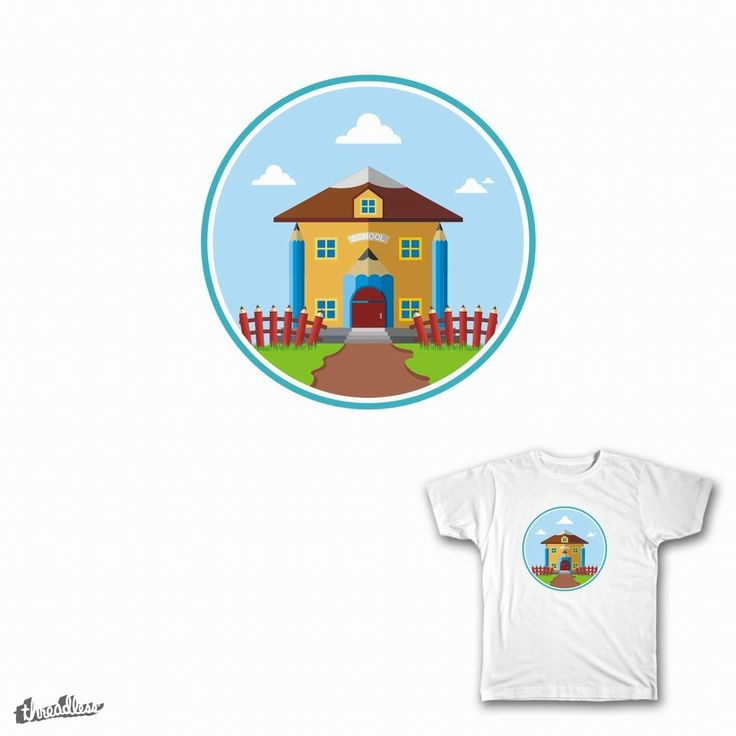 School Building With Pencil Design on Threadless