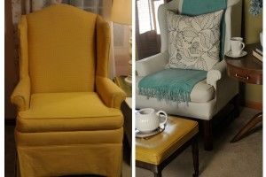 Chair redo painting the upholstery and using fabric softener instead of medium