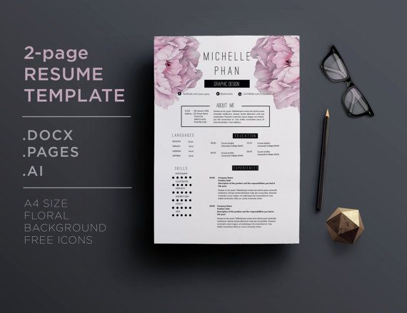2 page CV / 2 page resume template  cover letter by ChicTemplates