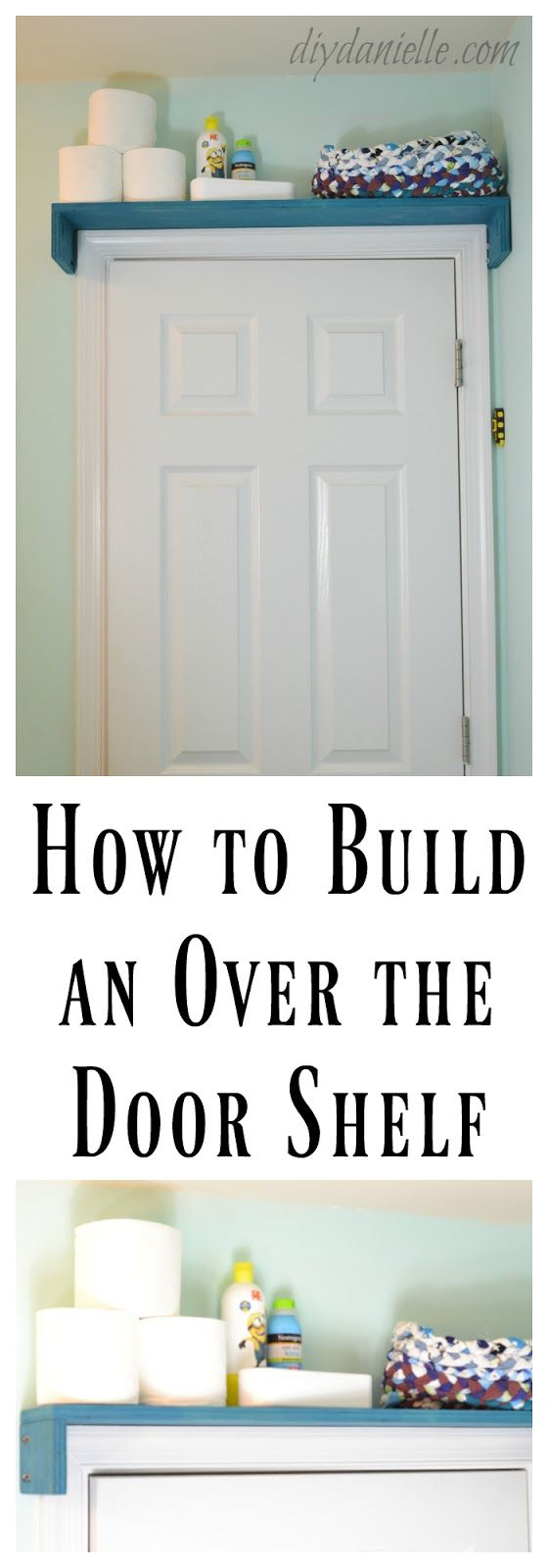 How to build a shelf for over the bathroom door to keep unsafe items away from children.
