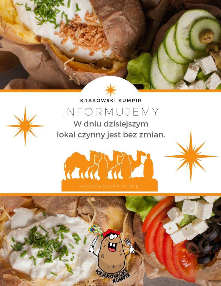 INFORMUJEMY, że w dniu jutrzejszym nasz lokal CZYNNY JEST BEZ ZMIAN,  a kumpiry DOWOZIMY tak jak zawsze, czyli w godzinach 11:00-23:00. #krakowskikumpir #kumpir #bar #pieczonyziemniak #ziemniak #potato #bakedpotatos #kraków #krakow #rzeszów #rzeszow #warszawa #stolica #katowice #poland #googfood #food #świeże #autumn #online #trzechkróli #kolęda #święto