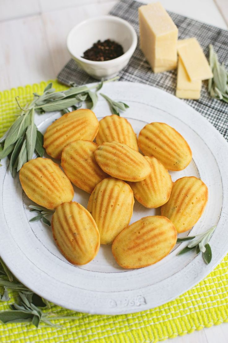 Savory madeleine biscuits with cheese and sage.