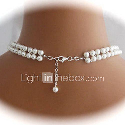 Mujer Strands Collares Collar con perlas Forma de Corazón en forma de V Perla Perla Artificial Nupcial Europeo Elegant Blanco Joyas Para 2017 - €9.39