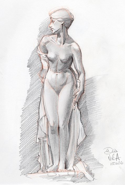 Eve, drawn in one sitting at the Victoria & Albert Museum, summer 2015.