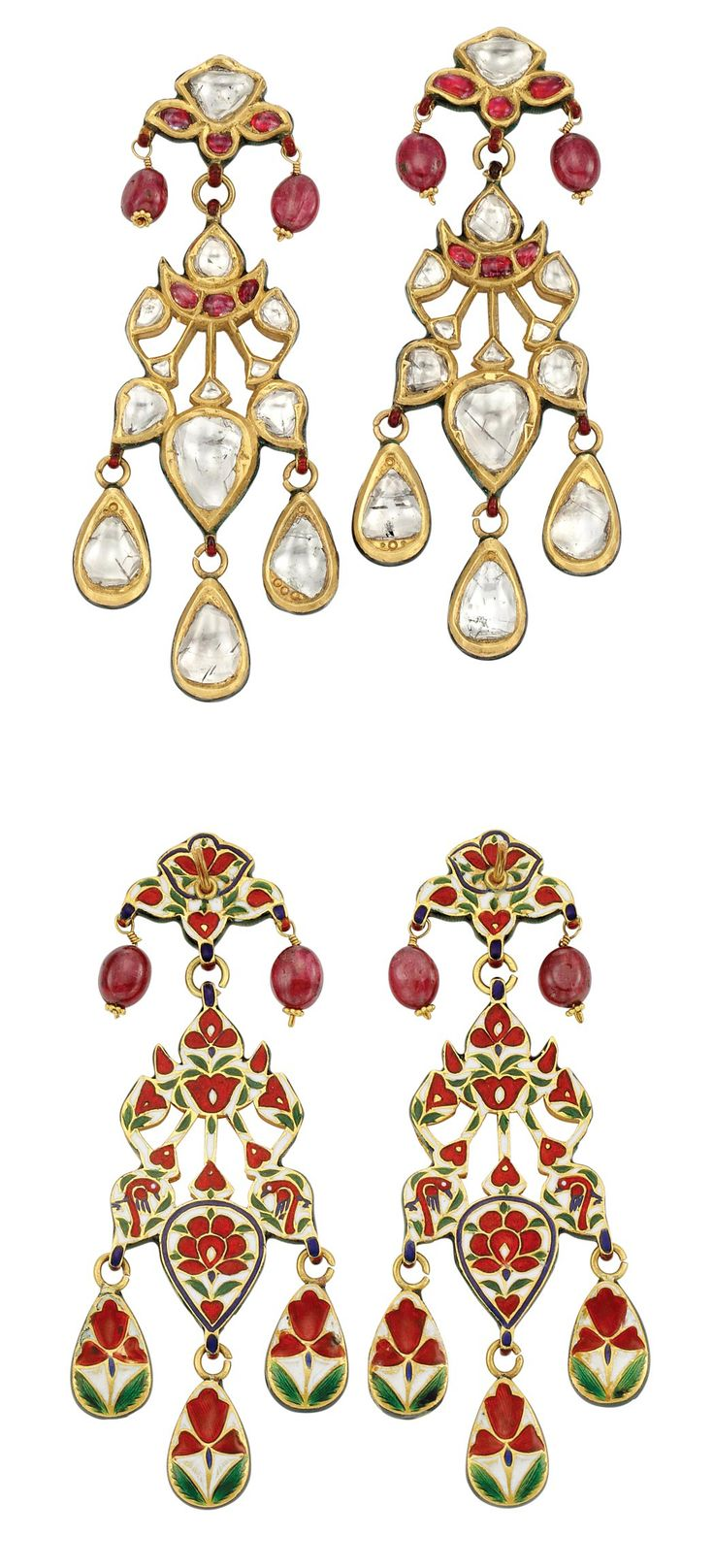 Pair of Indian Gold, Foiled-Back Diamond, Ruby Bead and Jaipur Enamel Pendant-Earrings  Topped and suspending tiers of 26 fancy and pear-shaped foiled-back diamonds, accented by 12 foiled-back rubies, further suspending 4 ruby beads, the reverse applied with decorative Jaipur enamel, approximately 18.6 dwts. gross.