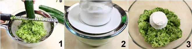 1.  Prendete le 4 vaschette di zucchine Julienne OrtoaCasa e grattugiatele con una grattugia a fori medi. Mettetele poi su un colino appoggiato su una ciotola capiente (foto1) 2.  Salate leggermente le zucchine, mescolatele e posatevi sopra un piattino sul quale collocherete un peso. Lasciate così le zucchine per circa mezz'ora per far perdere l'acqua in eccesso (foto 2) 3. Strizzatele ancora e ponetele in una ciotola, poi aggiungete la ricotta (foto 3)