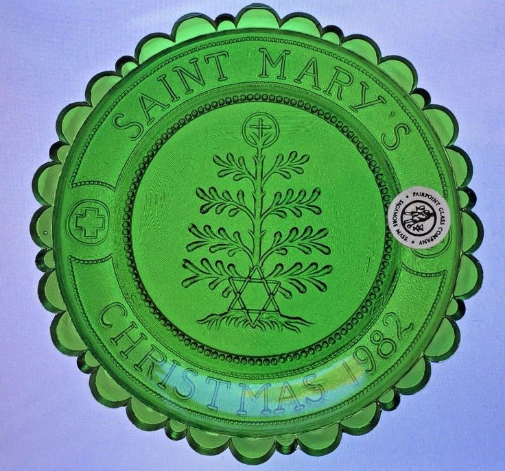 St Mary's Xmas 1982 Pairpoint Cup Plate New Bedford MA Root of Jesse Marian Art #PairpointMtWashington