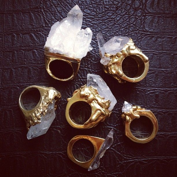 organic crystal rings at @lili claspe jewelry