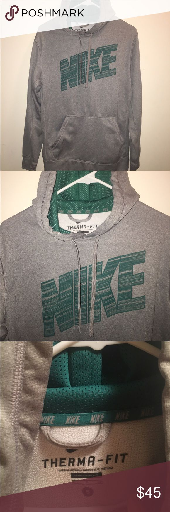 mens nike therma-fit hoodie mens grey nike therma-fit hoodie - green nike lettering across front - mesh inside hood - 100% polyester - although hoodie is mens, im clearly not a male so it would suit a girl as well Nike Tops Sweatshirts & Hoodies