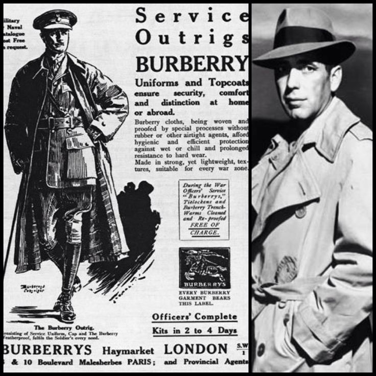 A short history of the trench coat at fashionvoyeurism.com! Burberry Add and Humphrey Bogart