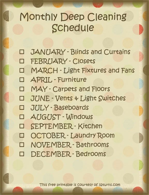 Deep Cleaning Schedule, I need to do this! Free Printable! #cleaning #printable #springcleaning