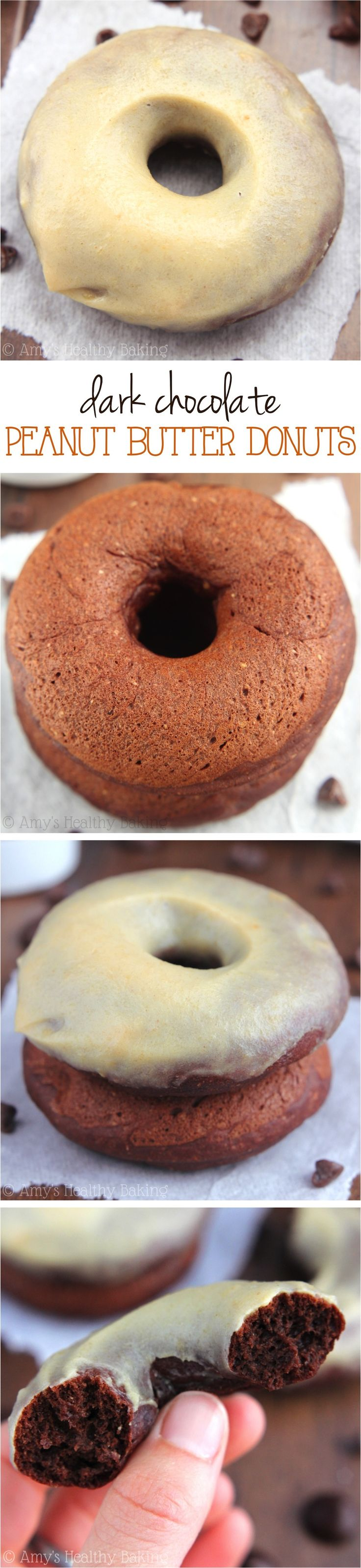 Dark Chocolate Peanut Butter Donuts -- they taste like cupcakes crossed with Reese's PB cups! Baked, not fried & only  86 calories!